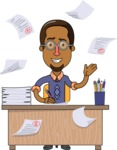 Minimalist African-American Male Teacher Character - Working on a Desk