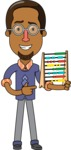 Minimalist African-American Male Teacher Character - With an Abacus