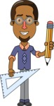 Minimalist African-American Male Teacher Character - With a Pencil and a Line
