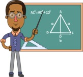 Minimalist African-American Male Teacher Character - Math Lesson