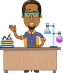 Minimalist African-American Male Teacher Character - Chemistry Lesson