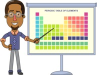 Minimalist African-American Male Teacher Character - Periodic Table