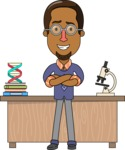 Minimalist African-American Male Teacher Character - Microbiology
