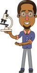 Minimalist African-American Male Teacher Character - With a Microscope
