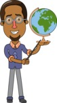 Minimalist African-American Male Teacher Character - With a Globus