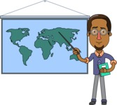 Minimalist African-American Male Teacher Character - Geography Lesson