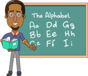 Minimalist African-American Male Teacher Character - Alphabet Lesson