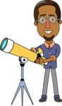 Minimalist African-American Male Teacher Character - With a Telescope