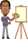 Minimalist African-American Male Teacher Character - Painting Lesson