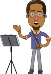 Minimalist African-American Male Teacher Character - Music Lesson