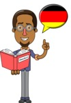 Minimalist African-American Male Teacher Character - German Language Lessons