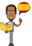 Minimalist African-American Male Teacher Character - Spanish Language Lessons