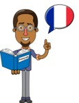 Minimalist African-American Male Teacher Character - French Language Lessons