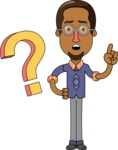 Minimalist African-American Male Teacher Character - Asking a Question