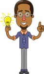 Minimalist African-American Male Teacher Character - With a Light Bulb