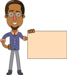 Minimalist African-American Male Teacher Character - Sign 3