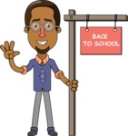 Minimalist African-American Male Teacher Character - Sign 4