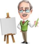Elderly Teacher with Moustache Cartoon Character - Art teacher with a blank canvas