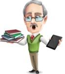 Elderly Teacher with Moustache Cartoon Character - Choosing between Book and Tablet