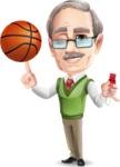 Elderly Teacher with Moustache Cartoon Character - P.E teacher with basketball and whistle
