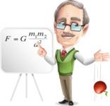 Elderly Teacher with Moustache Cartoon Character - Physics experiment