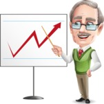Elderly Teacher with Moustache Cartoon Character - Pointing on a Blank whiteboard