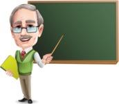 Elderly Teacher with Moustache Cartoon Character - Pointing on blackboard