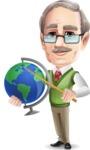 Elderly Teacher with Moustache Cartoon Character - Pointing on globe