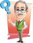 Elderly Teacher with Moustache Cartoon Character - Shape 11
