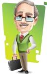 Elderly Teacher with Moustache Cartoon Character - Shape 12