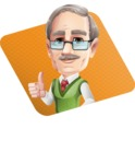 Elderly Teacher with Moustache Cartoon Character - Shape1