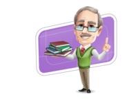 Elderly Teacher with Moustache Cartoon Character - Shape10