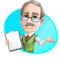 Elderly Teacher with Moustache Cartoon Character - Shape4