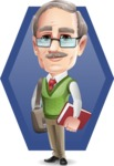 Elderly Teacher with Moustache Cartoon Character - Shape5