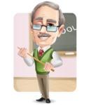 Elderly Teacher with Moustache Cartoon Character - Shape6