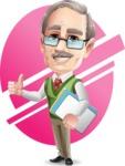 Elderly Teacher with Moustache Cartoon Character - Shape7