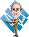 Elderly Teacher with Moustache Cartoon Character - Shape8