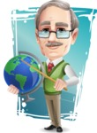 Elderly Teacher with Moustache Cartoon Character - Shape9