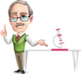 Elderly Teacher with Moustache Cartoon Character - Showing biology microscope