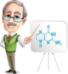 Elderly Teacher with Moustache Cartoon Character - Showing chemistry formula
