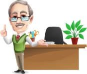 Elderly Teacher with Moustache Cartoon Character - Standing infront of desk