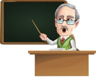 Elderly Teacher with Moustache Cartoon Character - Pointing on blackboard while sitting at desk