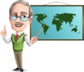 Elderly Teacher with Moustache Cartoon Character - Teaching geography