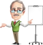 Elderly Teacher with Moustache Cartoon Character - with a Blank Presentation board