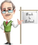 Elderly Teacher with Moustache Cartoon Character - with Back to school sign