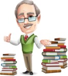 Elderly Teacher with Moustache Cartoon Character - with Book piles
