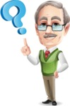 Elderly Teacher with Moustache Cartoon Character - with Question mark