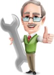 Elderly Teacher with Moustache Cartoon Character - with Repairing tool wrench