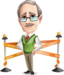 Elderly Teacher with Moustache Cartoon Character - with Under Construction sign