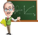 Elderly Teacher with Moustache Cartoon Character - Writing on blackboard